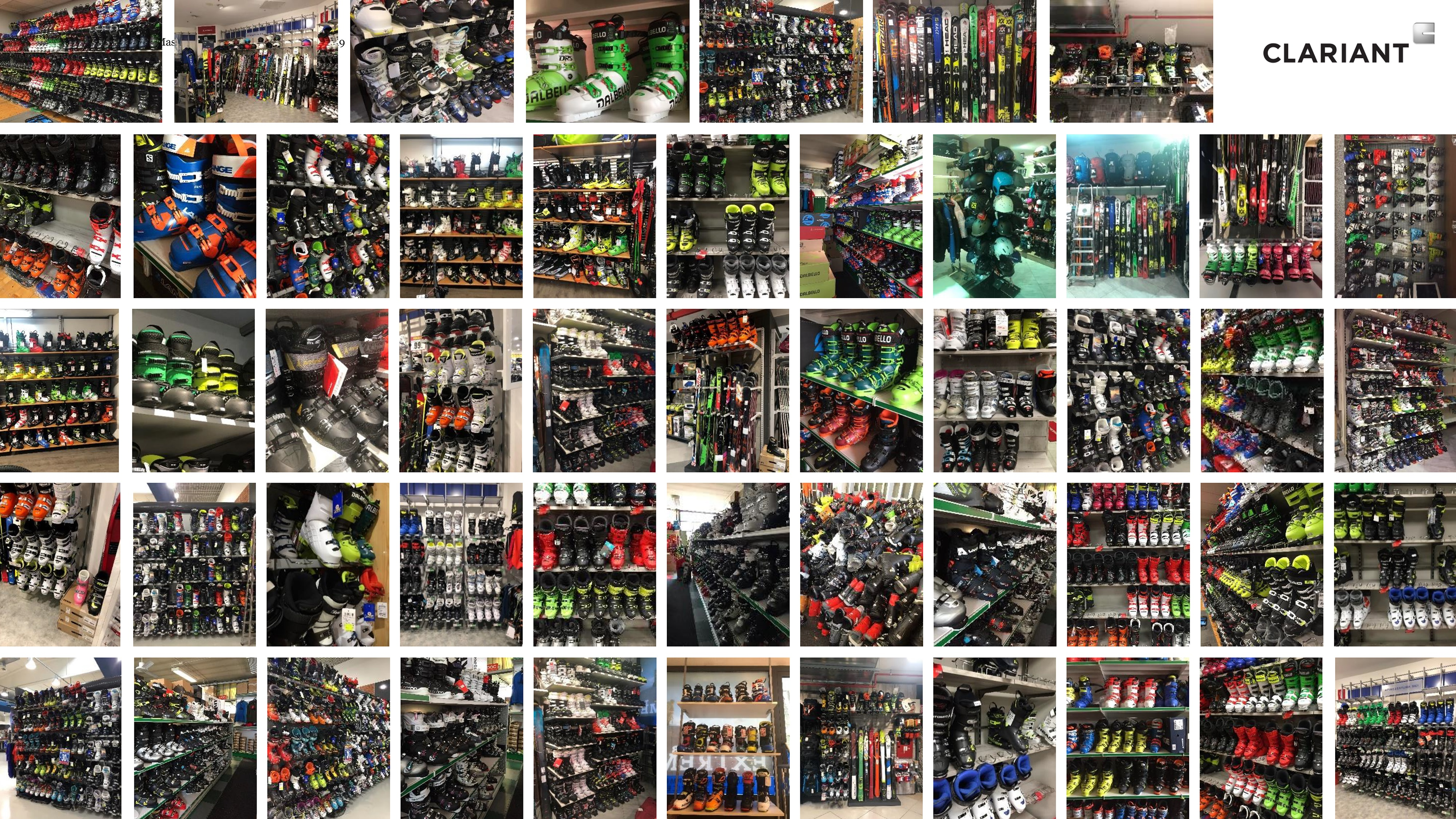 The partners visited the websites of eleven ski boot manufacturers, collecting a total of 499 images of individual boots presented in online catalogues. (Source: Clariant)