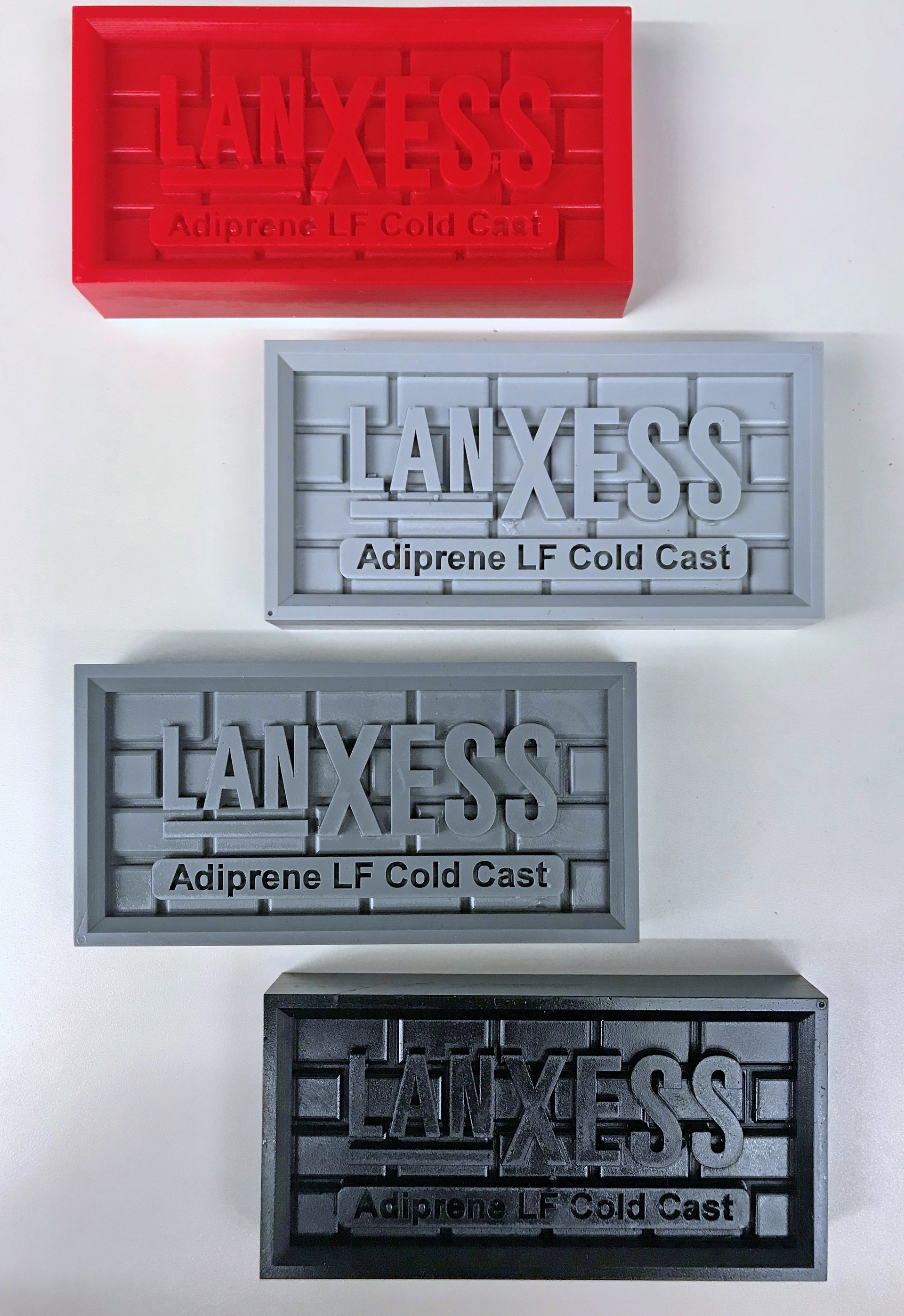 Samples of PU cast elastomers produced with Adiprene LF prepolymers and Vibracure curatives from Lanxess (Source: Lanxess AG)