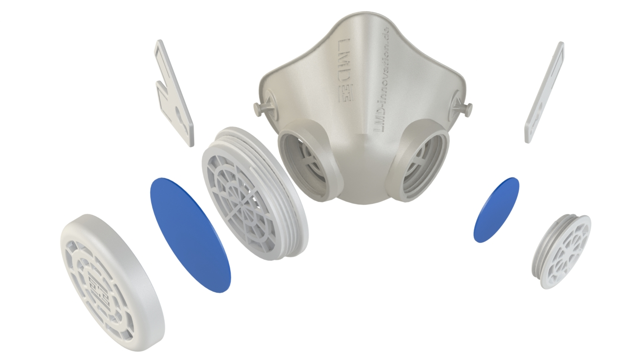 Filter inserts of the respiratory masks can be varied as required (Source: Lehvoss)