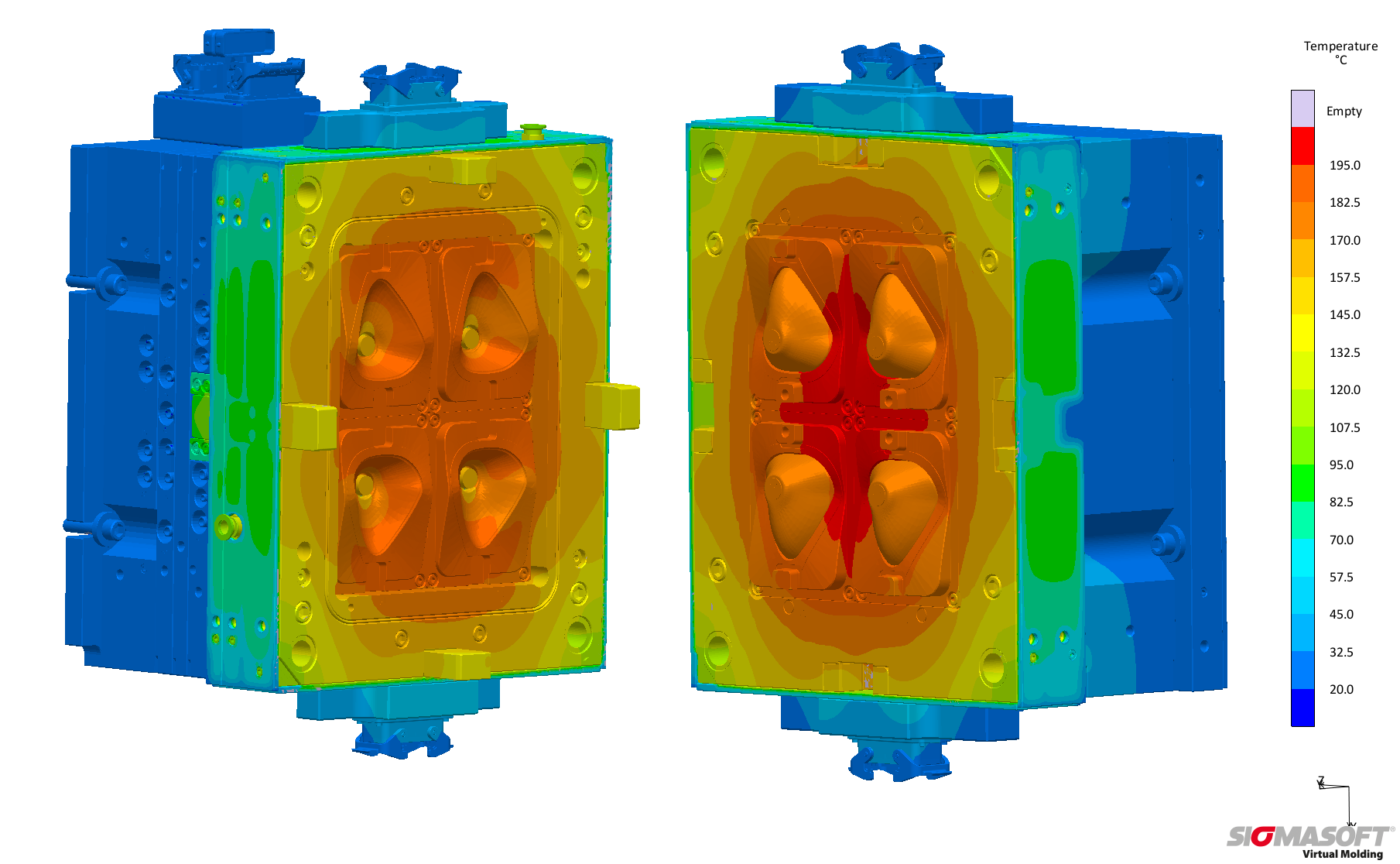 Sigmasoft Virtual Molding will precisely calculate the required number of cycles the mold needs to reach thermal steady state. The fixed (left) and the moving platen (right) at 180 °C after stabilization within ten cycles. (Source: Sigma)
