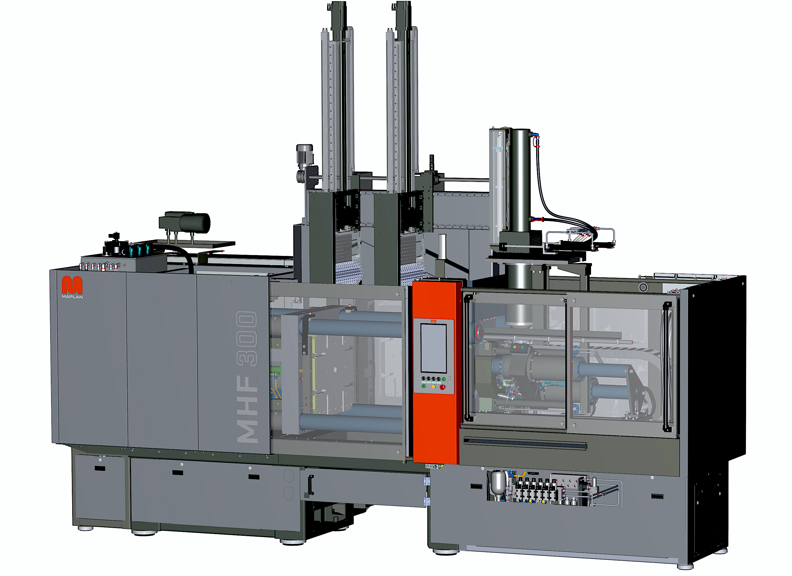 The hydraulic horizontal machine Rapidsup+/sup 700D/300 combined with a compacting device for processing HTV silicone and a servo-electrically driven double brush system for automatic part demoulding. (Source: Maplan)