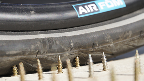 Air Fom offers a solution for deflated tyres that are instead inflated with expanded TPU from Covestro. (Source: Air Fom)