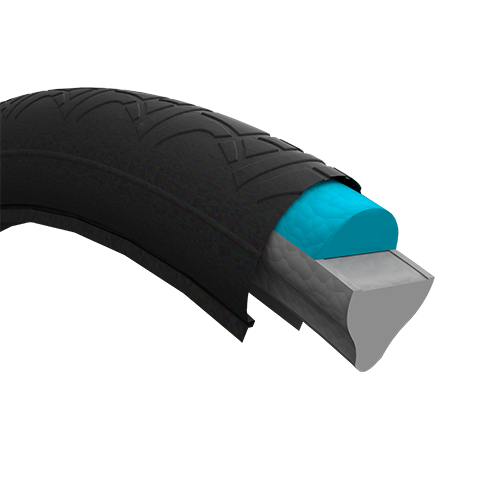 The TPU tyre inserts are as light and elastic as an air-filled tyre, can be mounted quickly and firmly on standard rims, are maintenance-free and recyclable. (Source: Air Fom)