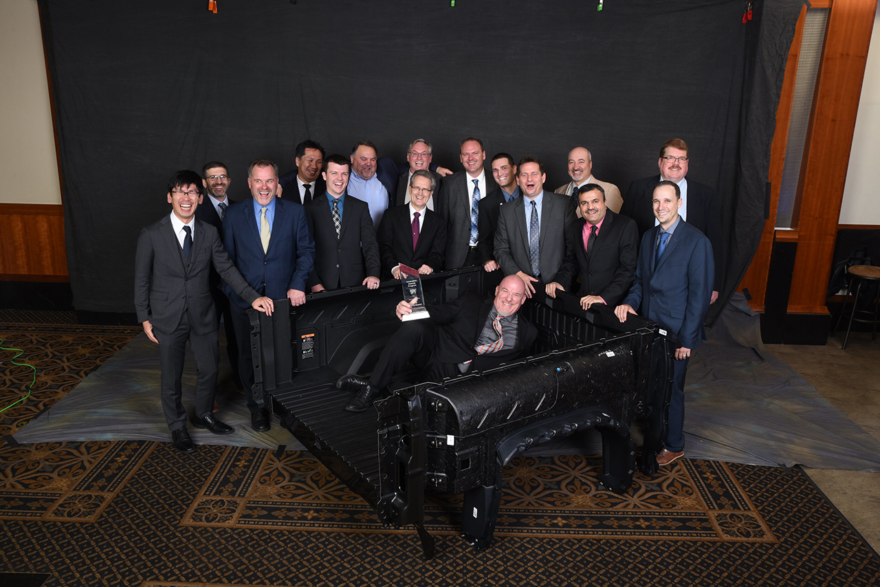 Members of the team that developed the 2019 Grand Award and Body Exterior category winner – the Composite Pickup Box on the 2020 GMC Sierra LD FST pickup from General Motors Co. (Source: SPE)