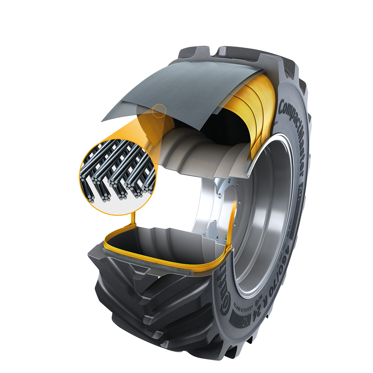 The twisted steel belt construction of the CompactMaster AG tire makes it stiffer. (Source: Continental)