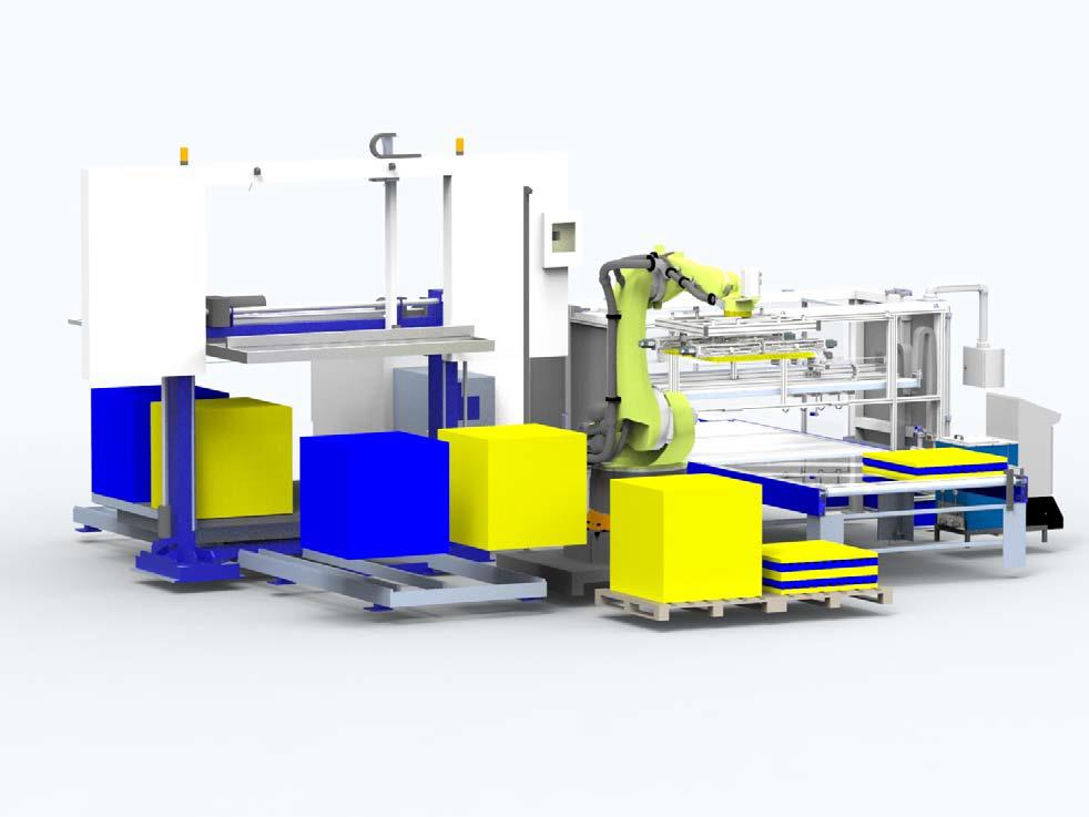 Bäumer's automated handling system for the production of mattresses combines the horizontal contour cutting machine OFS Twincut and the adhesive application unit Lamit HM by means of a handling robot. (Source: Bäumer)