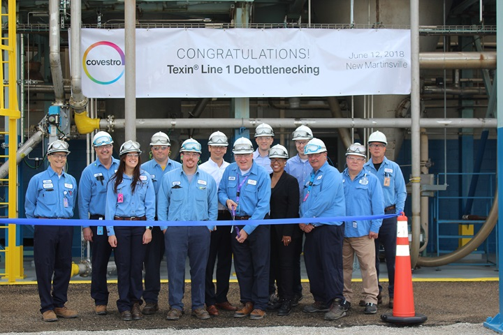 The leadership team at the Covestro facility in New Martinsville inaugurated the successful startup of its expanded Texin TPU production line with a ribbon-cutting ceremony. (Source: Covestro)