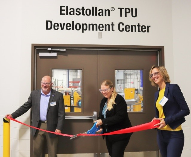 Elastollan TPU Development Center Open Ceremony. Left to right: Greg Pflum, Vice President and General Manger Midwest Hub, Dr. Anne Shim, Director of New Markets and Product Development, Performance Materials NA and Alisha Klekamp, Business Director, Industrial, Performance Materials NA. (Source: BASF)