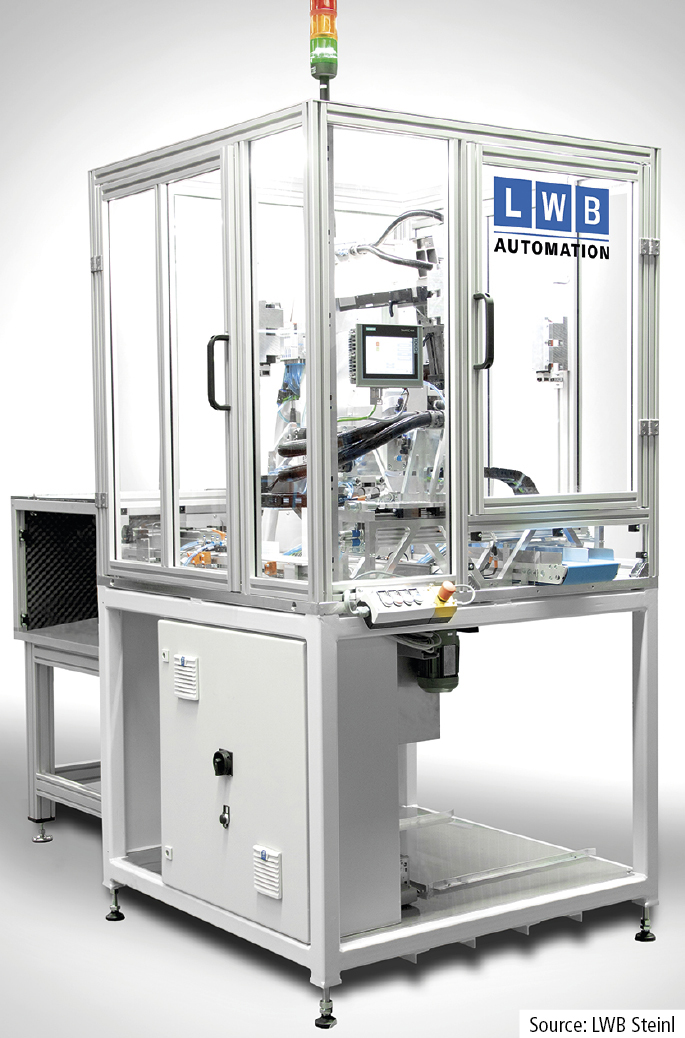 At its trade fair premiere, LWB Automation will  present a production cell for post-processing  and testing of moulded rubber parts.