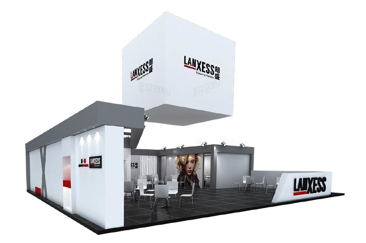 Design des Lanxess-Standes für die All China Leather Exhibition 2018 (Source: Lanxess)