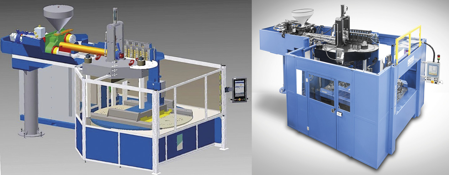 Production cell with three-column clamping unit and injection via a horizontal plasticising and injection unit from above, based on the VSRS 2500/1000 machine type. (Source: LWB Steinl)