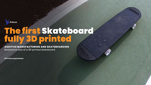 Roboze used TPU to manufacture the bearings of its FFF 3D printed skateboard (Source: Roboze)