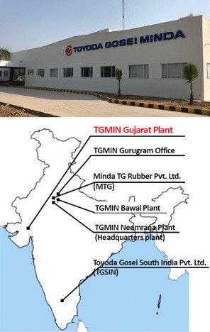 Business network in India (3 companies, 6 locations) (Source: Toyoda Gosei)