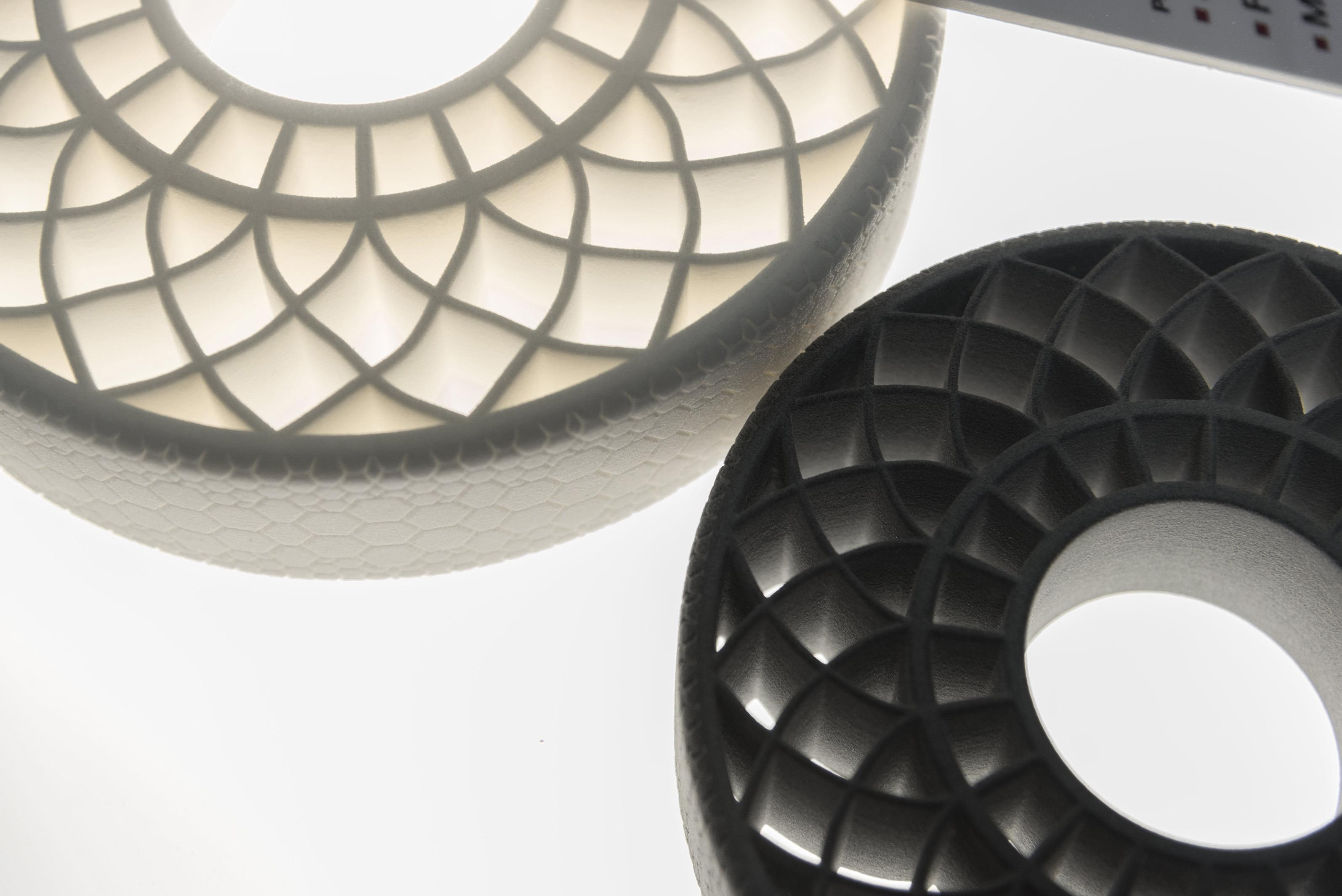 Two airless tyres that were created with 3D printing technologies using thermoplastic polyurethane from BASF (Source: BASF)