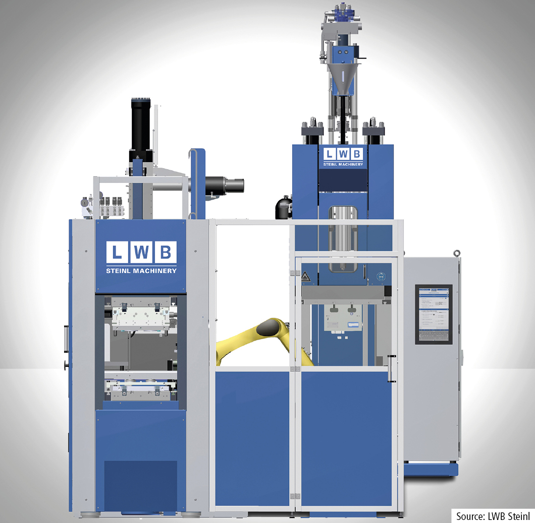 LWB Steinl will present a production cell integrating a VCRS 500/115 C-frame machine with thermoplastic injection unit in combination with a VRF 1100/160 gantry frame rubber injection moulding machine for the fully automatic production of plastic/rubber-composite mouldings.