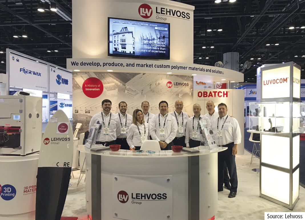 Stand and team of the Lehvoss Group at NPE2018