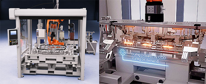 Rampf's automated production cell for the bonding of car parts (left) uses CoD technology (right) (Source: Rampf)