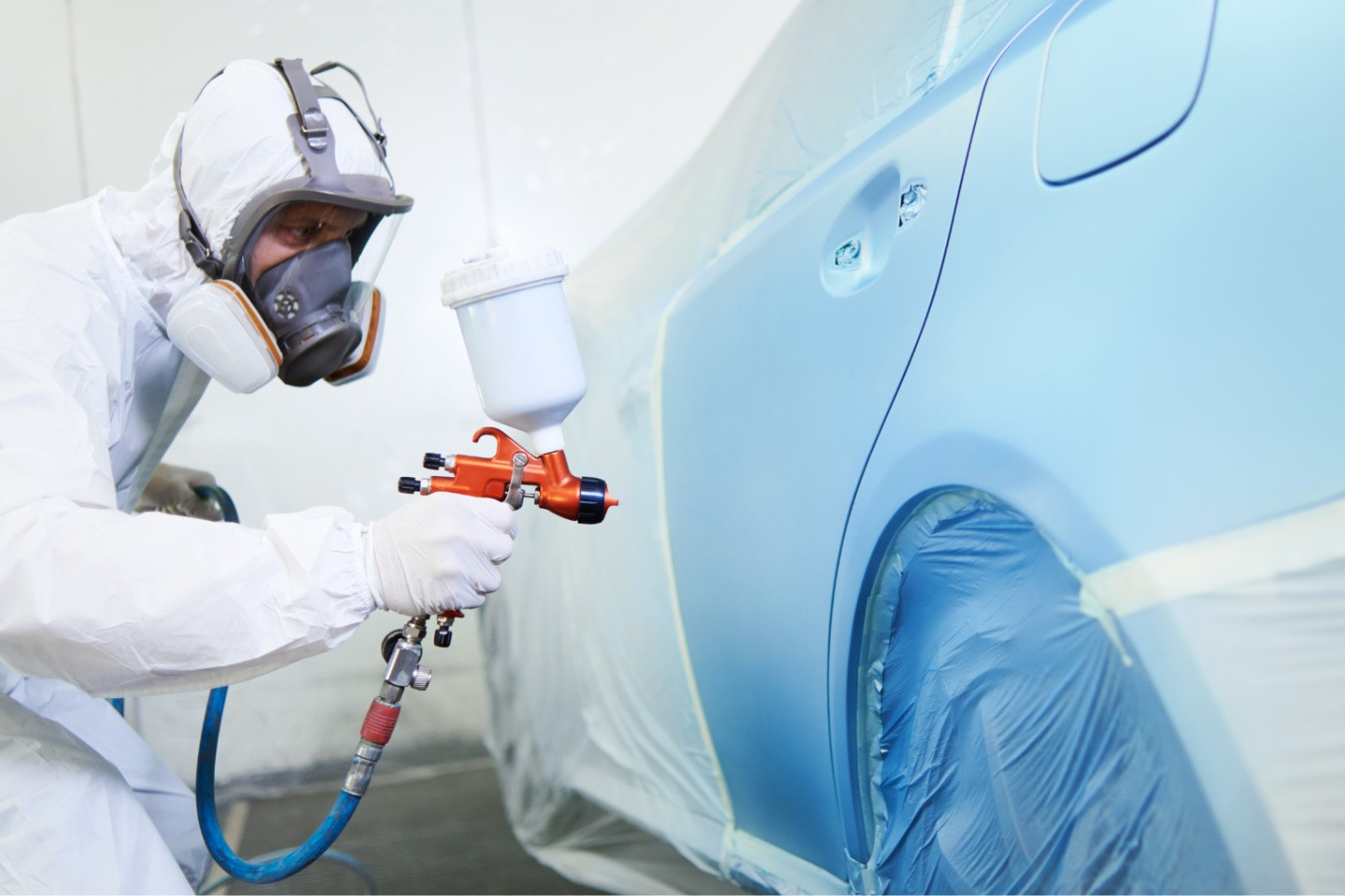 Thanks to the use of Covestro's Ultra line of coating hardeners with very low residual levels of free isocyanates, automotive refinish coatings from BASF's Coatings division can meet a new standard in industrial hygiene. (Source: Covestro)