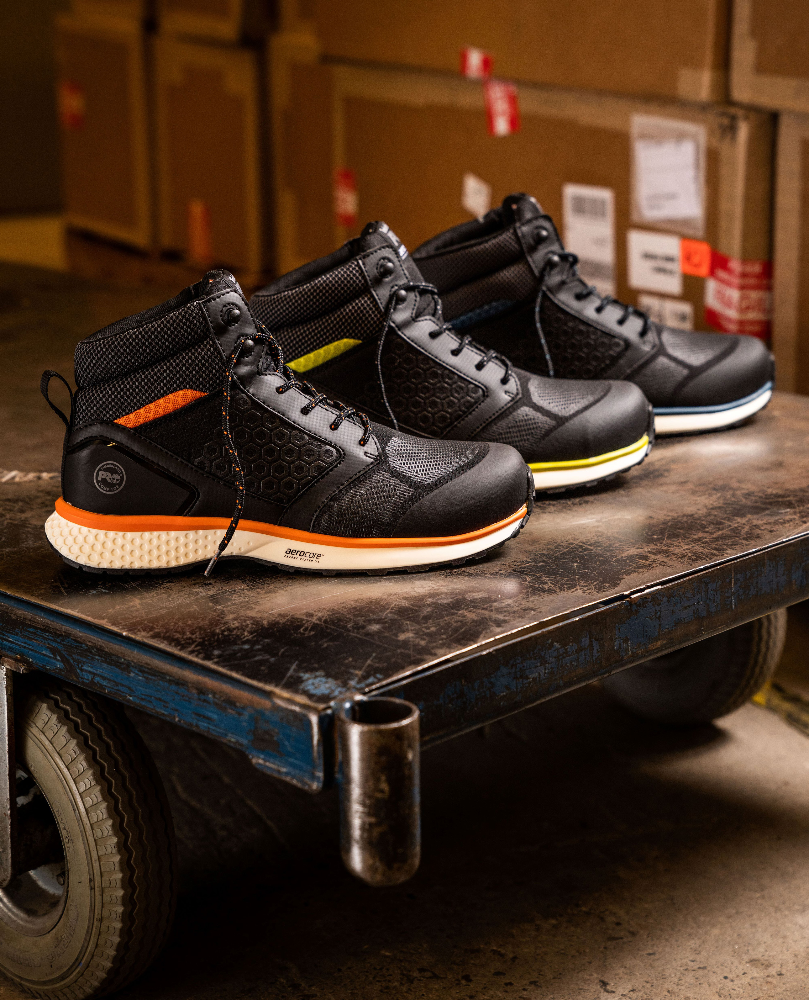 Timberland Pro safety shoes featuring Elastollan TPU and Elastopan PU from BASF (Source: BASF)