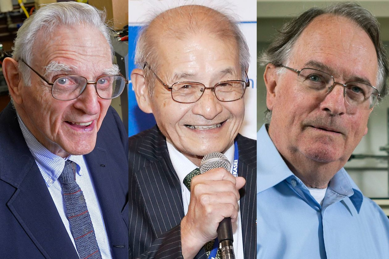 Winners of the Nobel Prize in Chemistry (from left): U.S. engineer John B. Goodenough (Source: University of Texas/Shutterstock/European Press Photo Agency), Japan's Akira Yoshino (Source: Shinji Kita/Kyodo News/Associated Press) and M. Stanley Whittingham of the U.K. (Source: Jonathan Cohen/Binghampton Unitversity/Associated Press)