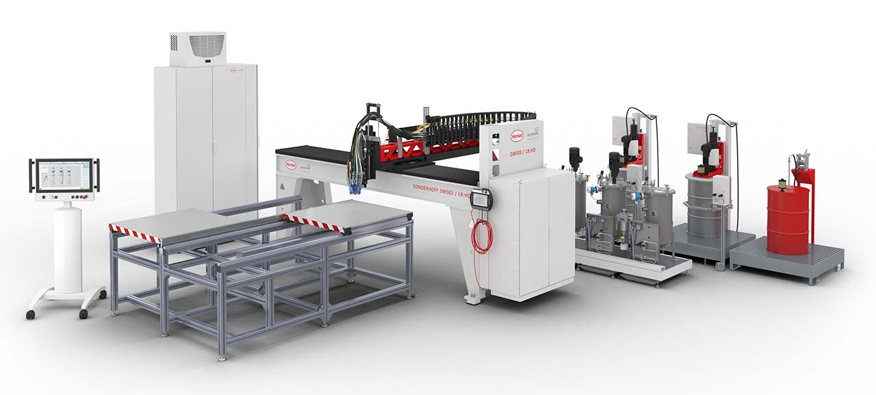 The new dosing machine generation DM 503 for fully automatic processing and dosing of sealing foams, adhesives and potting compounds (Source: Henkel)