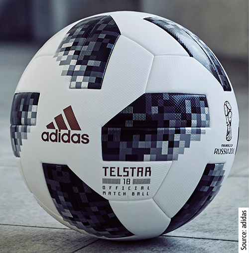 The official adidas Telstar 18 match ball for the Soccer World Cup 2018 features Keltan Eco from Arlanxeo.