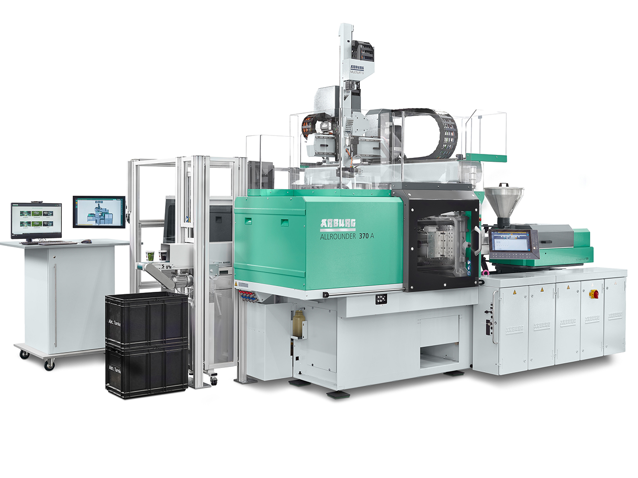 """Application example of the R-Cycle project: A """"smart"""" turnkey system based around an electric Allrounder 370 A produces inline-printed cups that are 100 % traceable and can be separated by type. (Source: Arburg)"""
