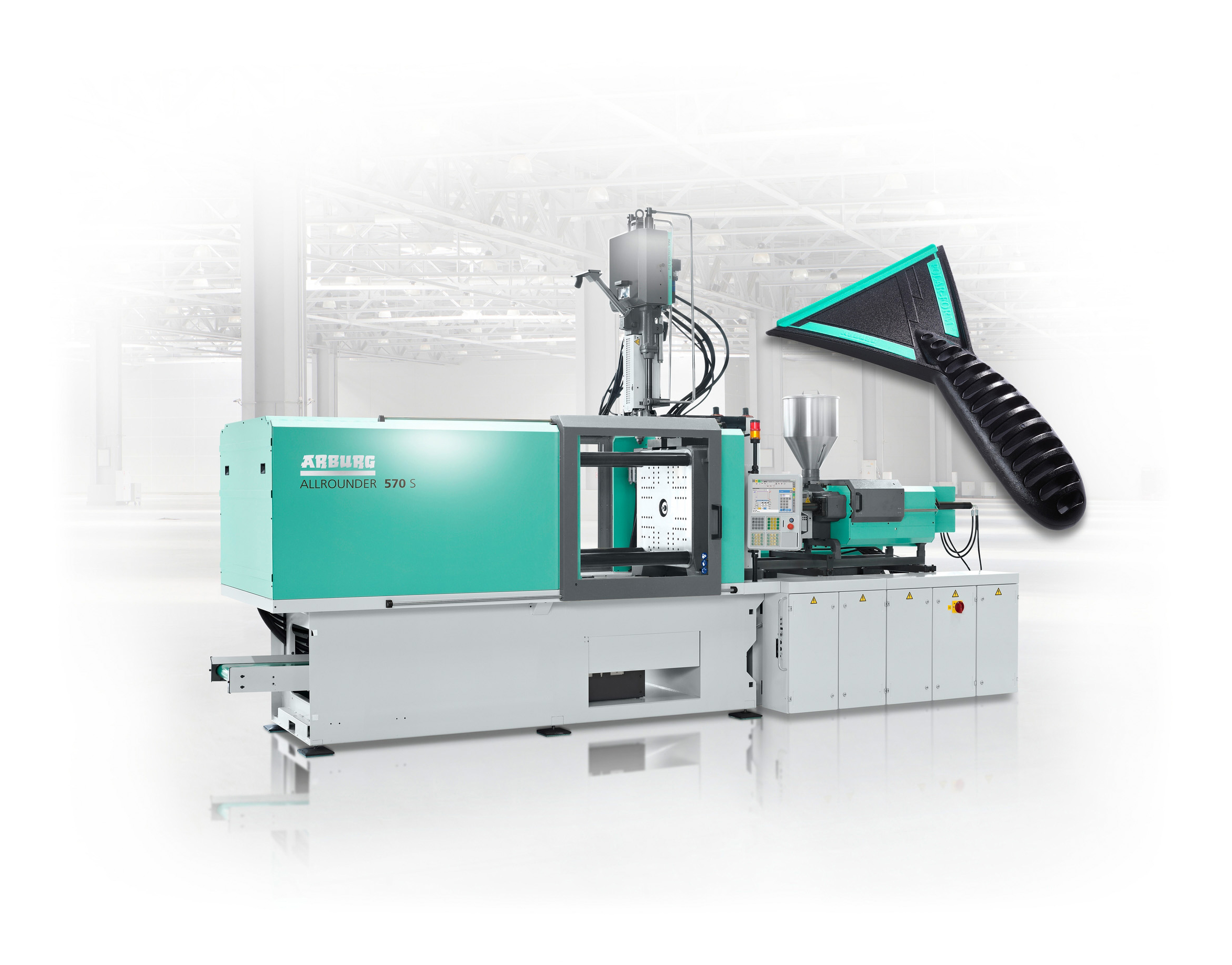 At Interplastica 2019 a hydraulic two-component Allrounder 570 S will produce ice scrapers from ABS and TPE live at the Arburg stand in hall 2.1 (Source: Arburg)