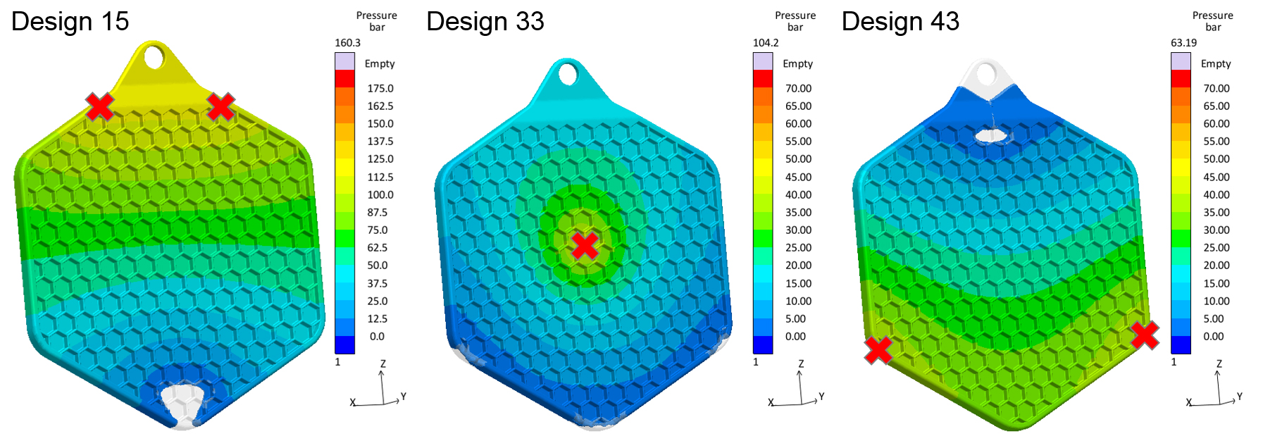 With the help of a virtual DoE different injection points (red crosses) are compared regarding injection pressure and air entrapments for an LSR pot cloth. While Design 15 and 43 have a high risk of undesired air bubbles, Design 33 combines a good filling behaviour with a low pressure demand. (Source: Sigma)