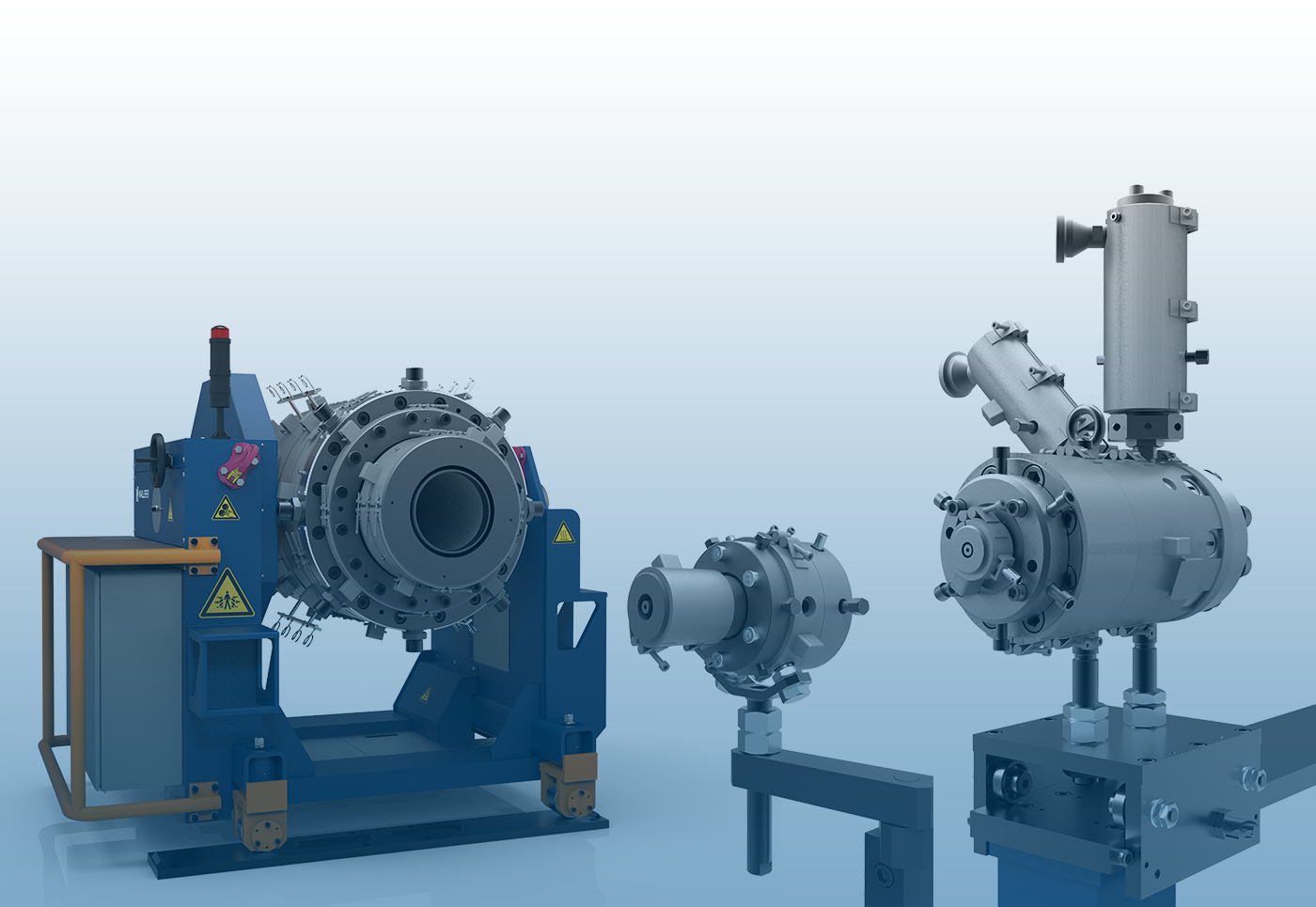 VLCH 305/400, TL 28 and ECH 8/24 extrusion heads from the family of Maillefer components (very large crosshead, longitudinal mono-layer head and multi-layer crosshead) (Source: Davis-Standard)