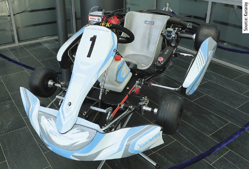 Kuraray will present its own racing kart and racing tyres based on ­Kuraray Liquid Rubber.