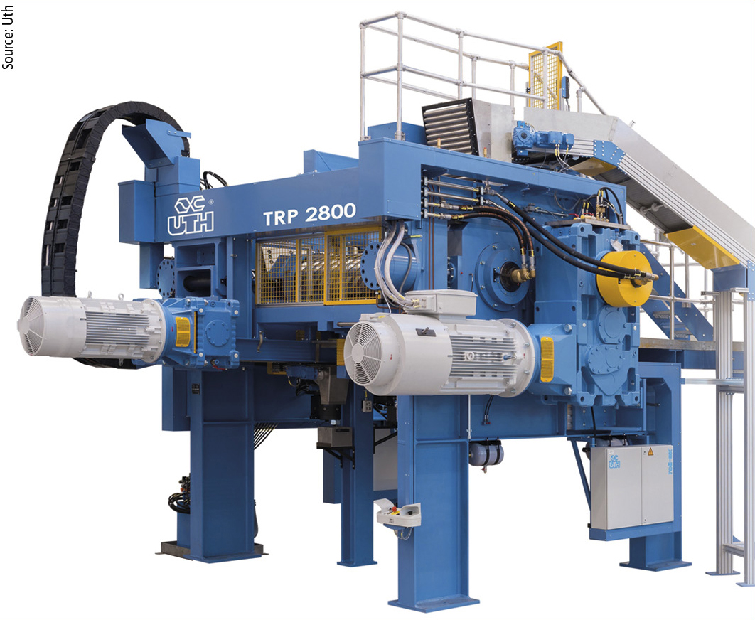 The TRP Reworker System from Uth allows the economical reworking of material in rubber processing