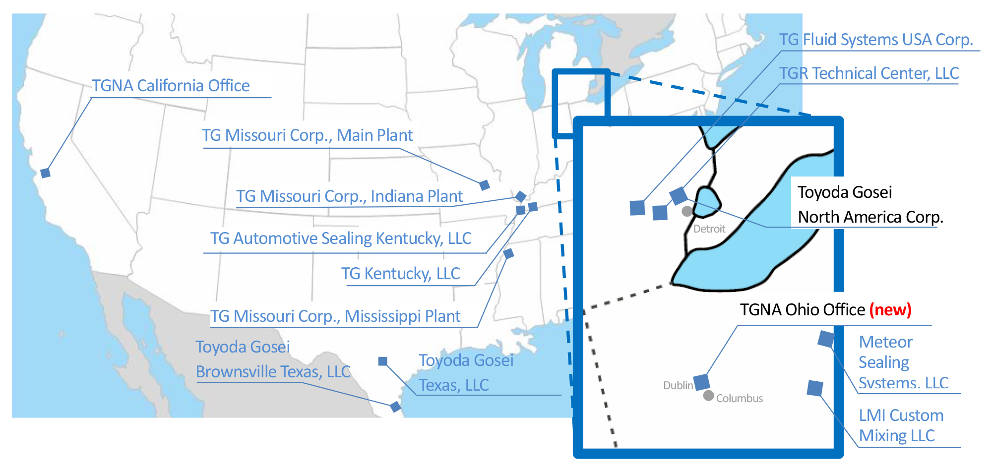 Engineering, sales, and manufacturing locations of Toyoda Gosei in USA (Source: Toyoda Gosei)