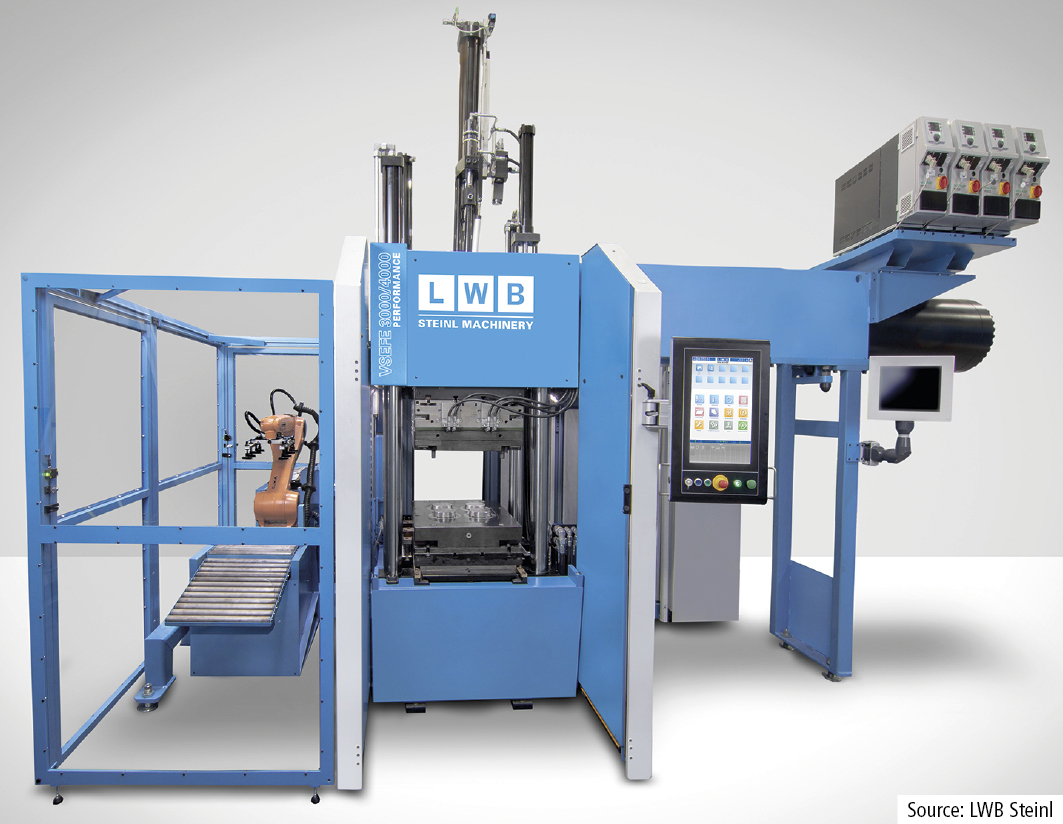 The second LWB exhibit will be a VS EFE 3000/4000 with vertical 4-tiebar clamping unit. Featuring the EFE injection system in the top level version, its potential for shortening the curing time is demonstrated.
