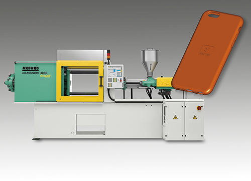 A hydraulic Allrounder 420 C Golden Edition will produce flexible smartphone covers from LSR at the Chinaplas 2017.